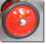 Ten inch red disk wheels available through Wagon Master Coaster, Sacramento